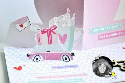 Tarjeta pop up romántica para San Valentín